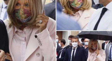 People: Brigitte Macron porte un masque signé Qotbi