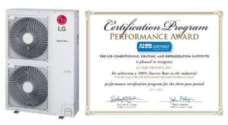 LG reçoit le prix de performance de l'AHRI pour la troisième année consécutive